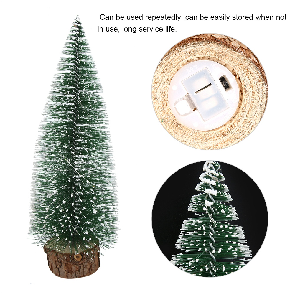 LED-Mini-Sisal-Christmas-Trees-Ornament-Snow-Frost-Small-Pine-Tree-XMAS-Decor thumbnail 14