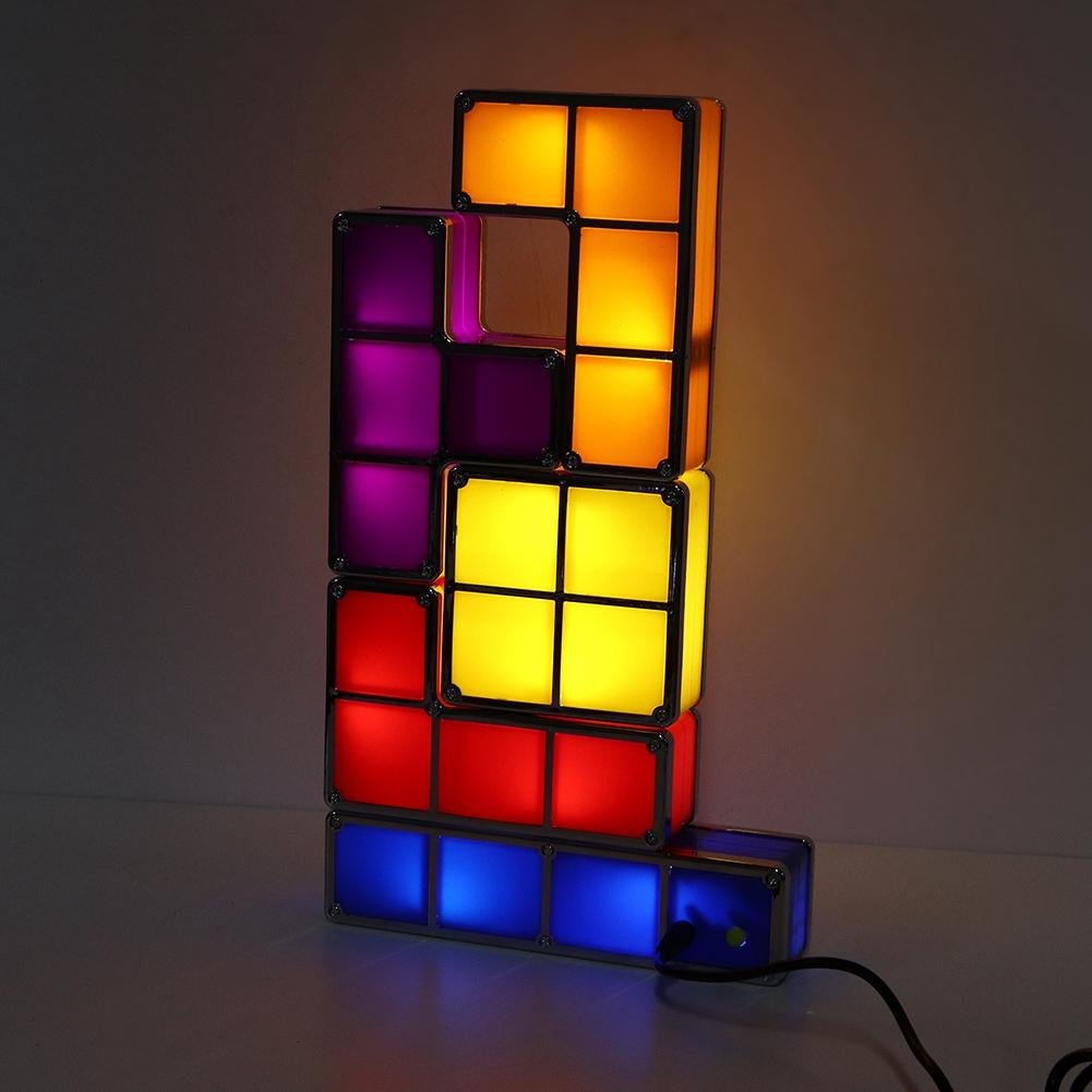 Details About Diy Tetris Puzzle Colorful Led Night Light Retro Game Stackable Romantic Lamp