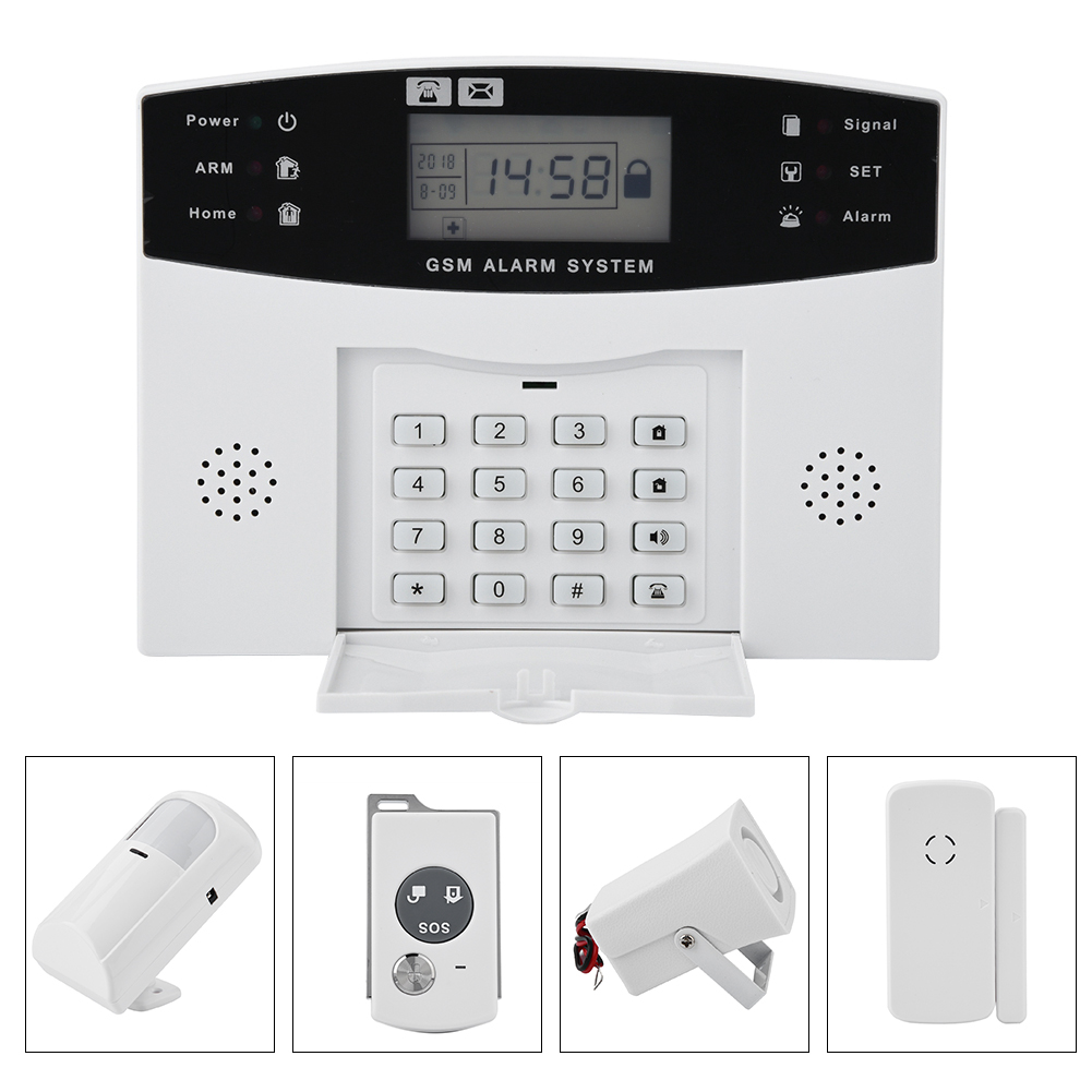 Wireless GSM SMS LCD Home Security Alarm Burglar Security System 8 ...