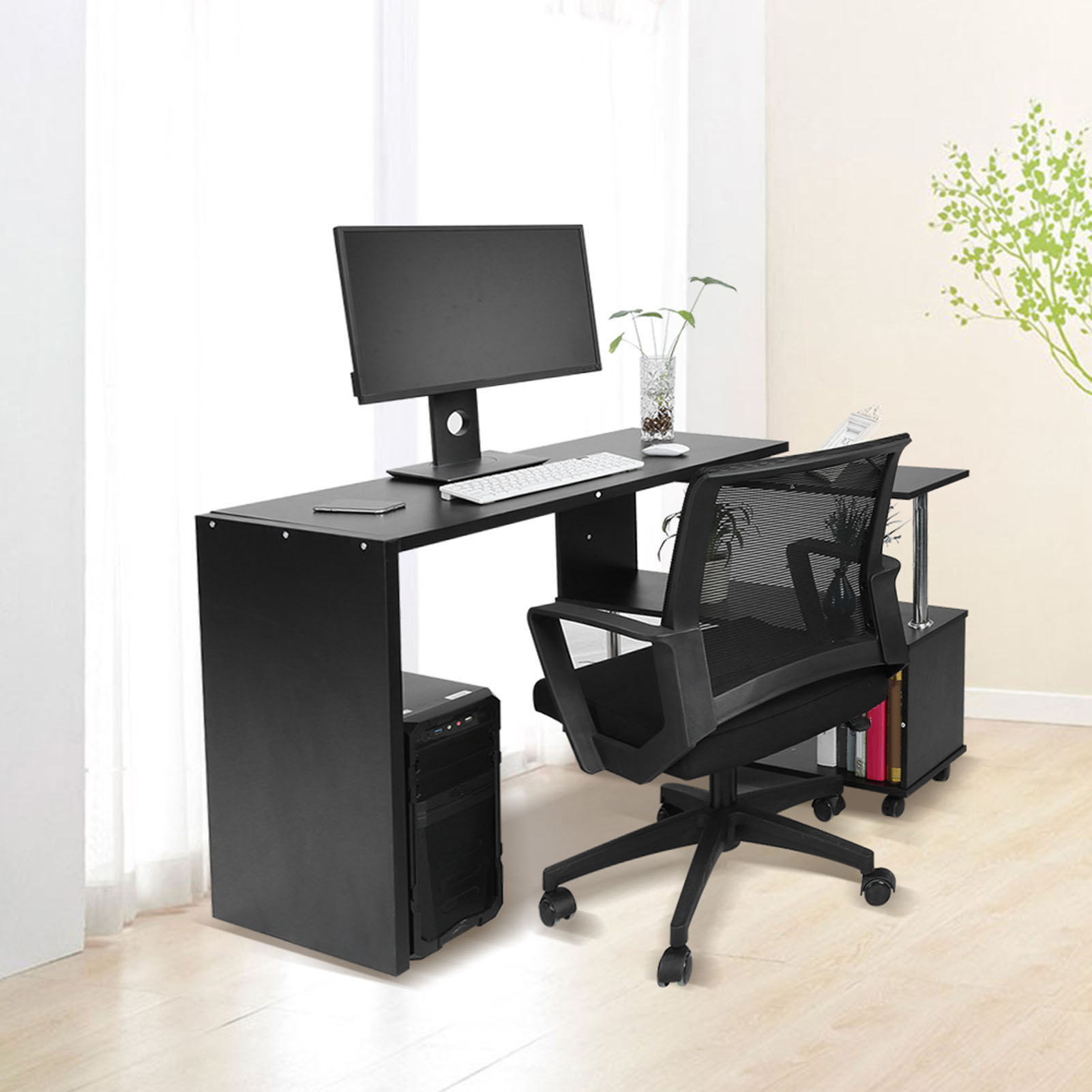 New Office Computer Desk Corner Table W Bookshelf Study Student Rotary White AU