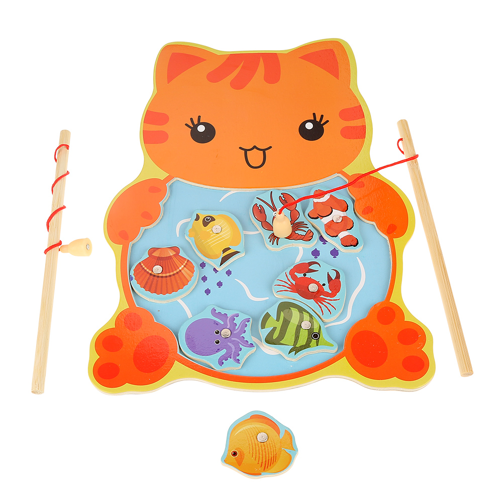 1Pc Wood Magnetic Fishing Game Board 8 Fish + 2 Rods Children Toy ...