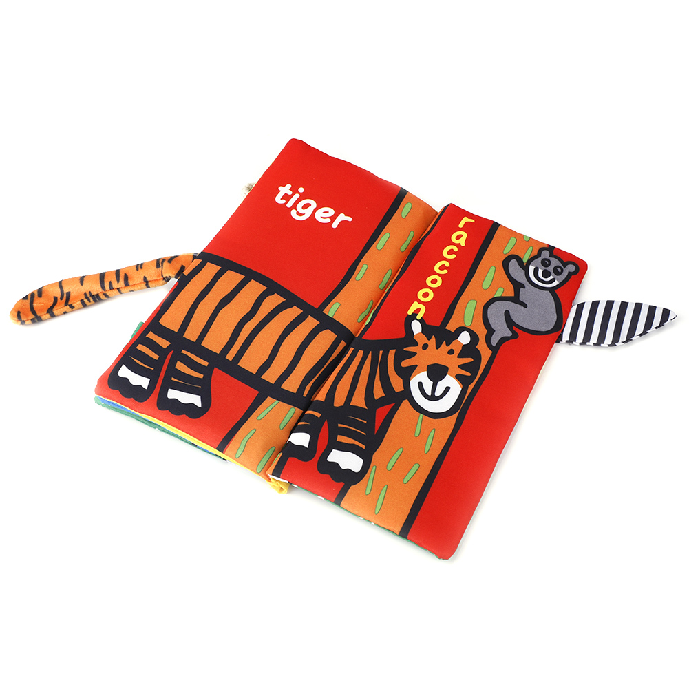 Kids-Animal-Tails-Cloth-Book-Baby-Puzzle-Toy-Development-Books-Education-Books miniature 14
