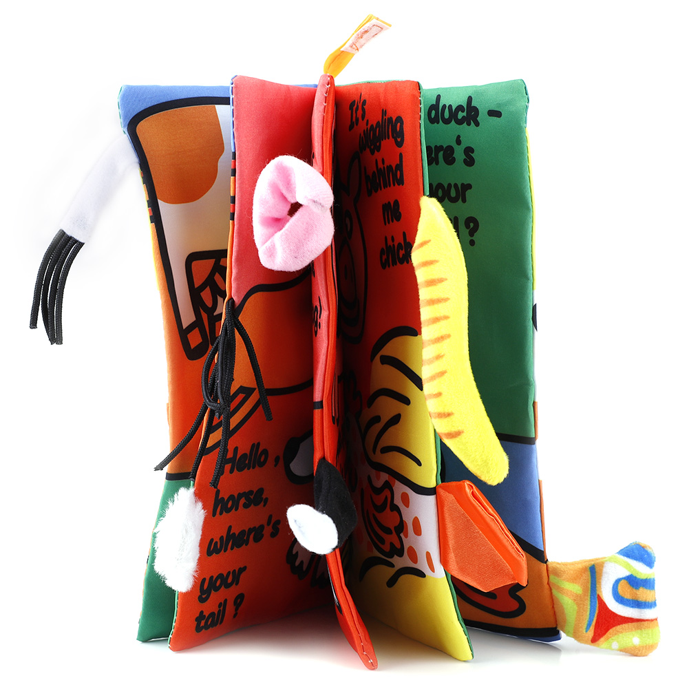 Kids-Animal-Tails-Cloth-Book-Baby-Puzzle-Toy-Development-Books-Education-Books miniature 17
