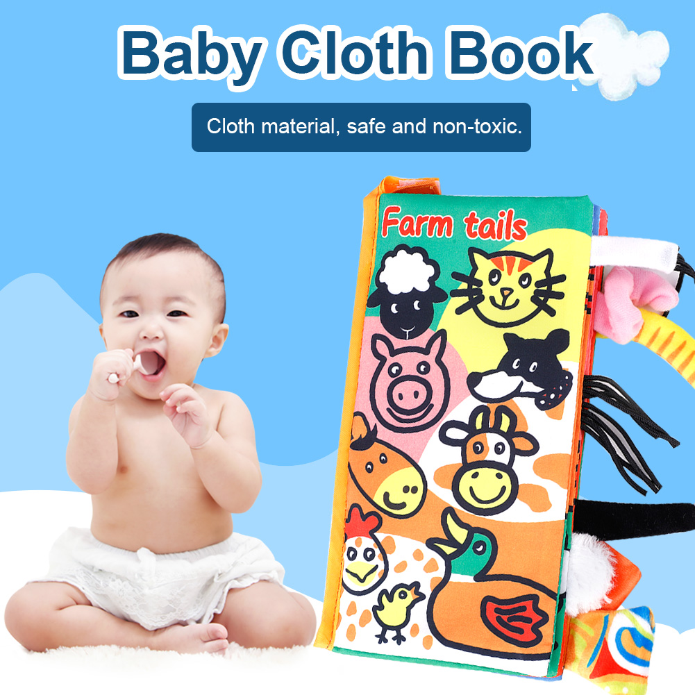 Kids-Animal-Tails-Cloth-Book-Baby-Puzzle-Toy-Development-Books-Education-Books miniature 18