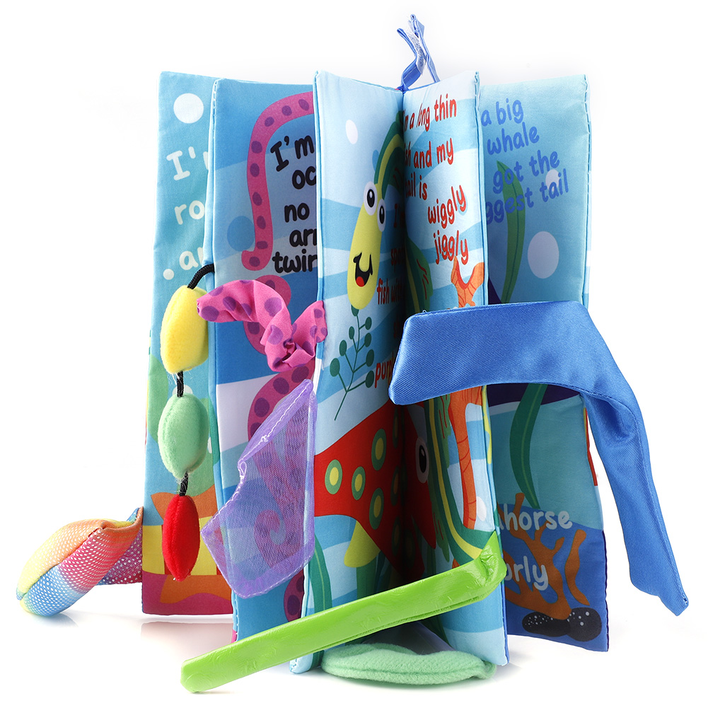 Kids-Animal-Tails-Cloth-Book-Baby-Puzzle-Toy-Development-Books-Education-Books miniature 20