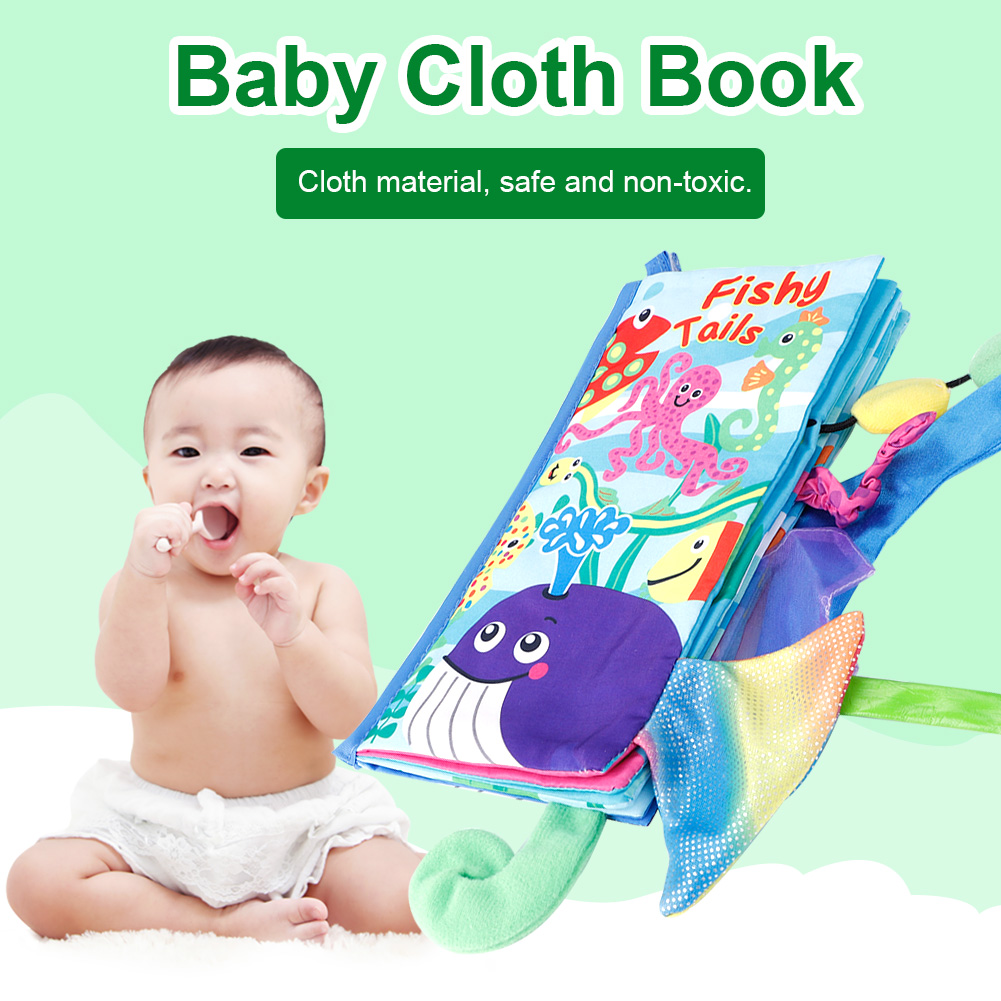 Kids-Animal-Tails-Cloth-Book-Baby-Puzzle-Toy-Development-Books-Education-Books miniature 21