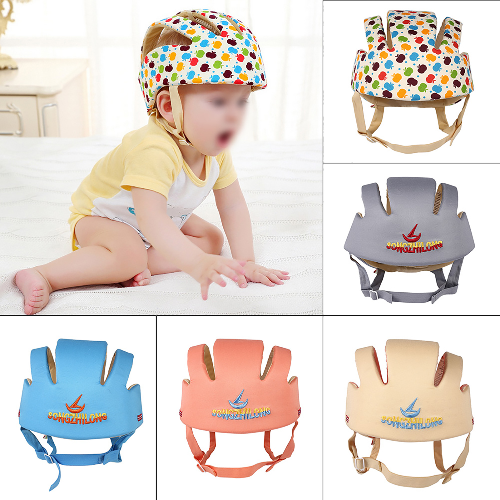 Infant Toddler For Walking Crawl Style Safety Helmet Baby Kid Head Protect Hat