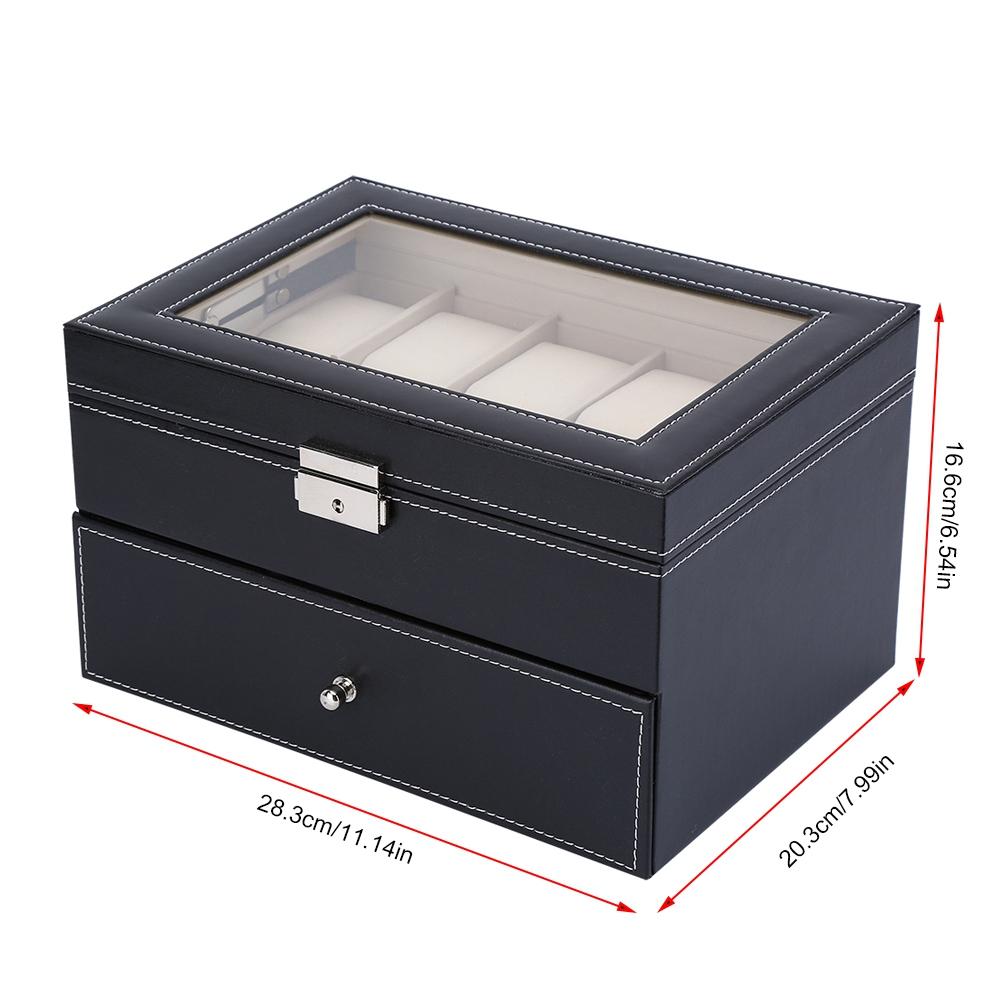20 Grid Uhrenbox Uhrenkoffer Kasten Vitrine Uhren Aufbewahrungsbox Schatulle DE