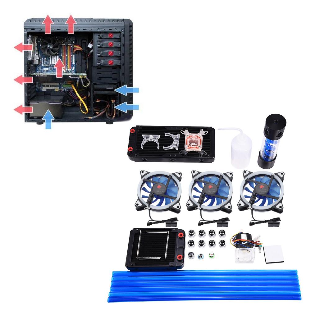 DIY-120-240mm-Water-Cooler-CPU-Block-Pump-Reservoir-LED-Fan-Radiatore-Kit-ZZ