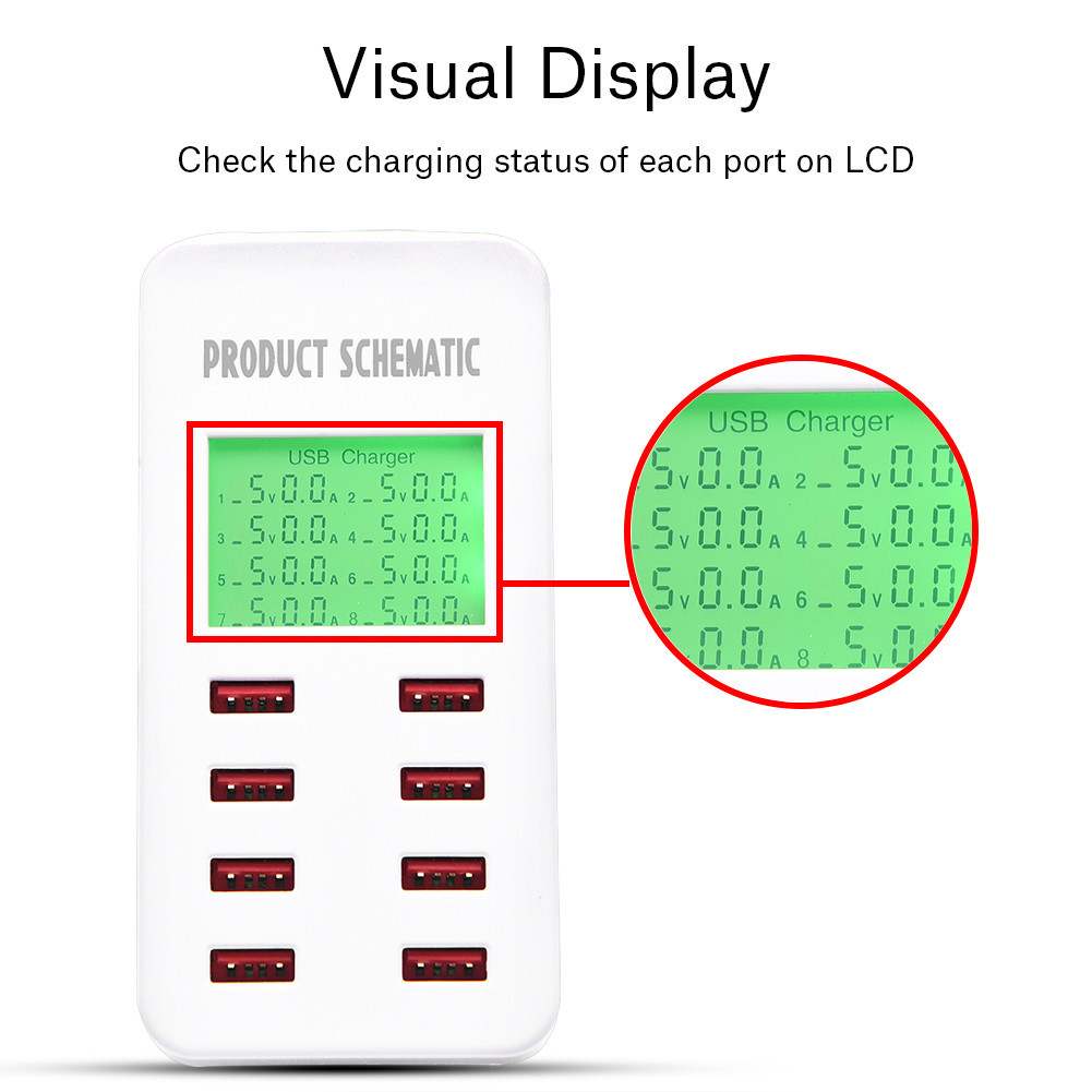 8 Port Usb Power Adapter Desktop Wall Charger Smart Lcd Display Mobile Phone Schematic Diagram Powered