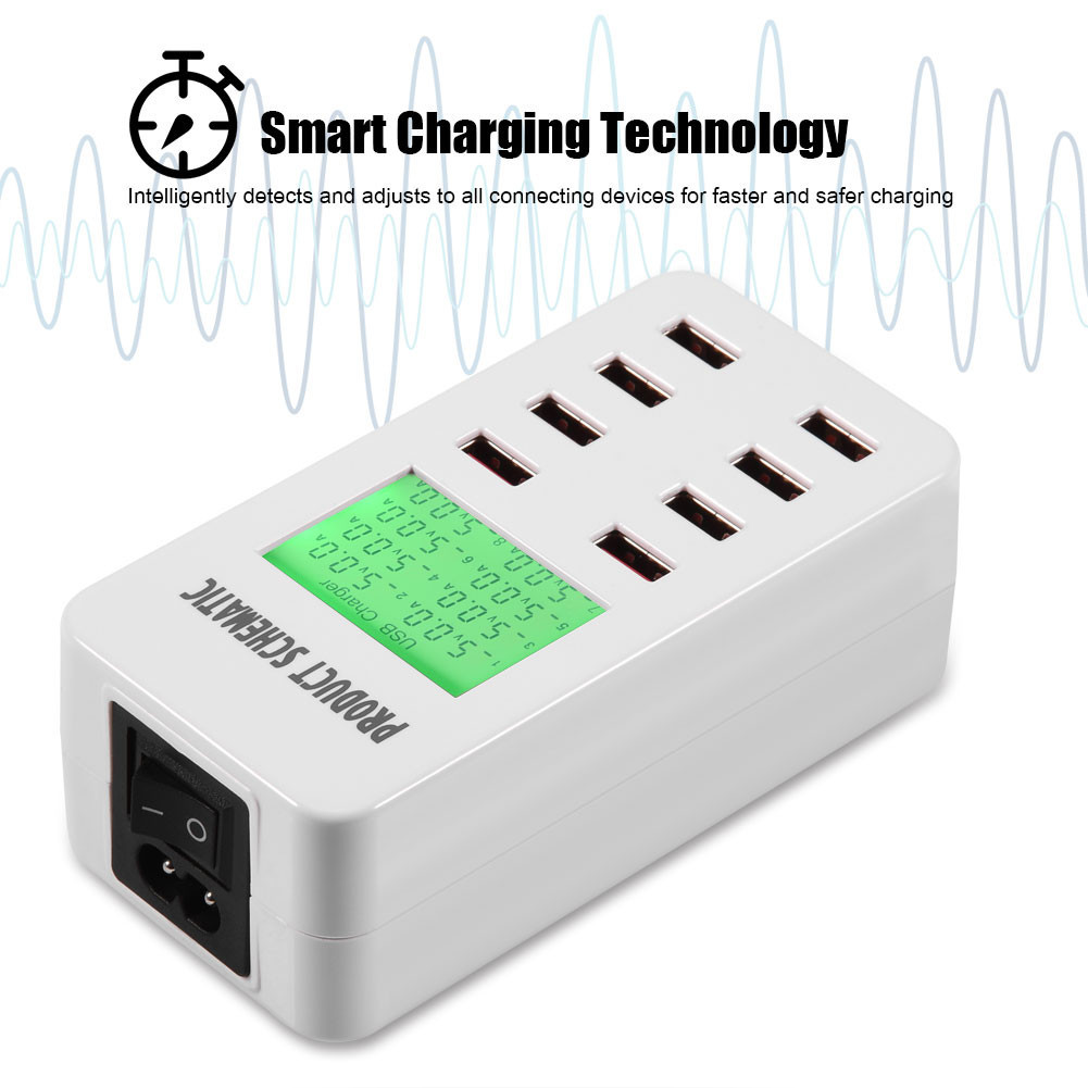 8 Port Usb Power Adapter Desktop Wall Charger Smart Lcd Display Schematic Chargers