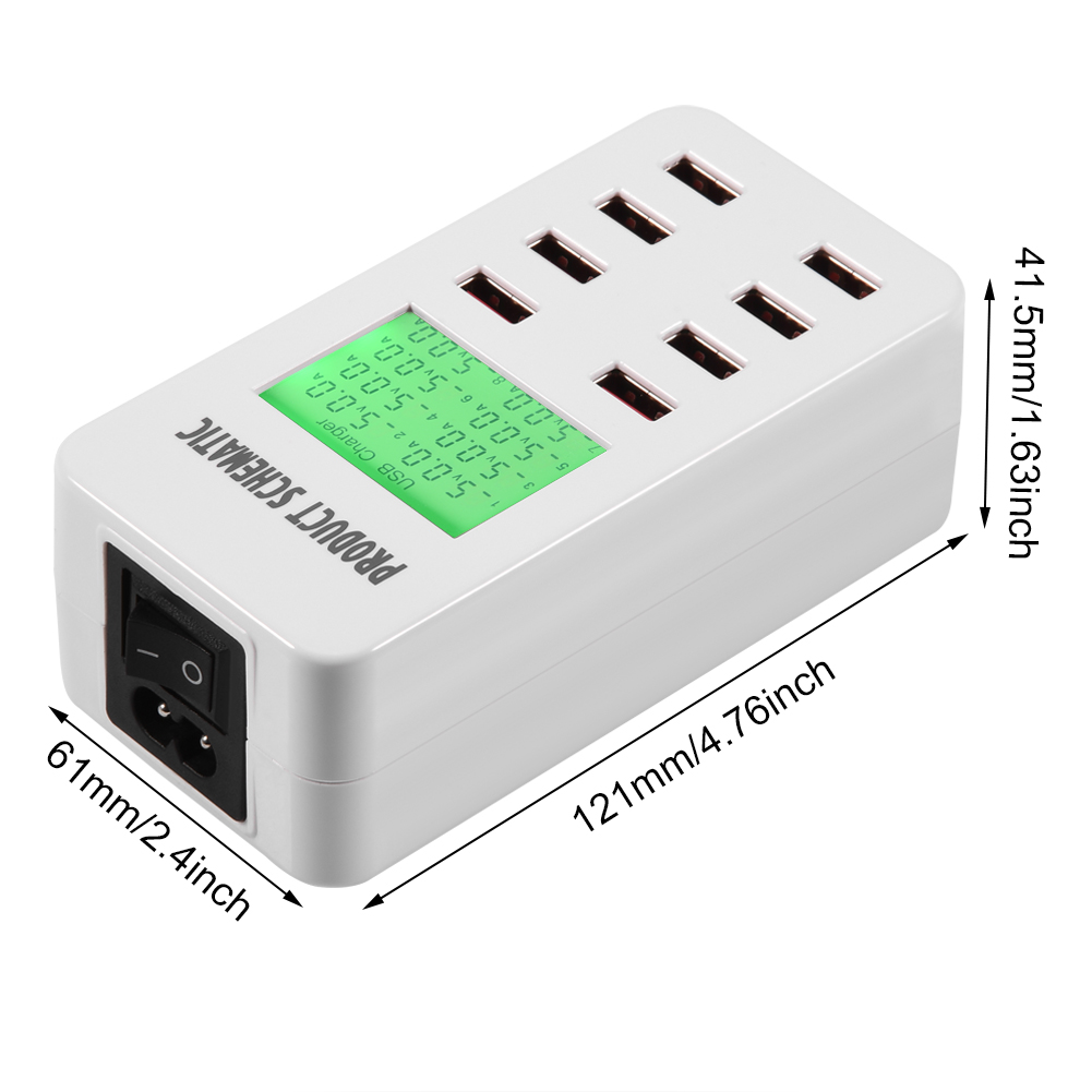 8 multi port usb adapter desktop wall charger smart led display charging station ebay. Black Bedroom Furniture Sets. Home Design Ideas