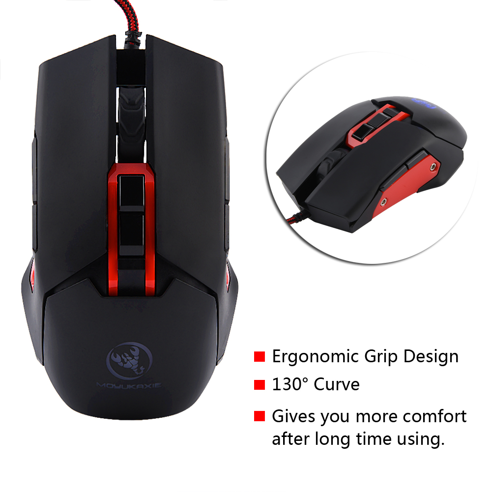 Hxsj S400 3200 DPI Wired Programmable Optical Gaming Mouse Mice W ...
