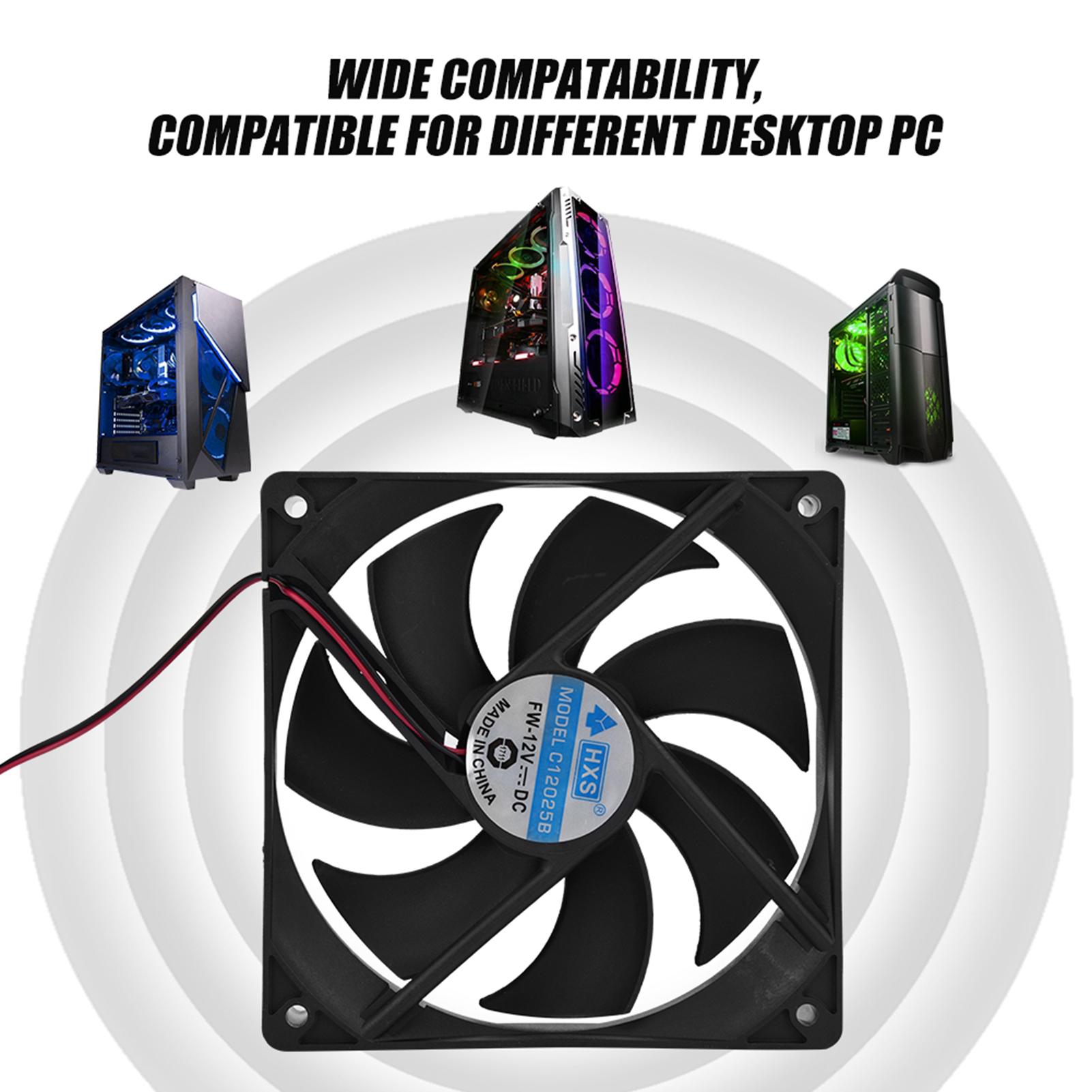 2x DC 12V 120mm Silent PC Computer Case CPU Cooling Fan Cooler Radiator Heatsink
