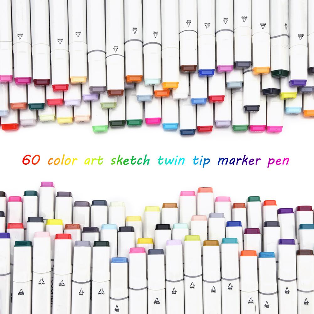 Set de 60 Color Dibujo Pintura Rotulador Base de Alcohol Touch Alcohol Twin Tip
