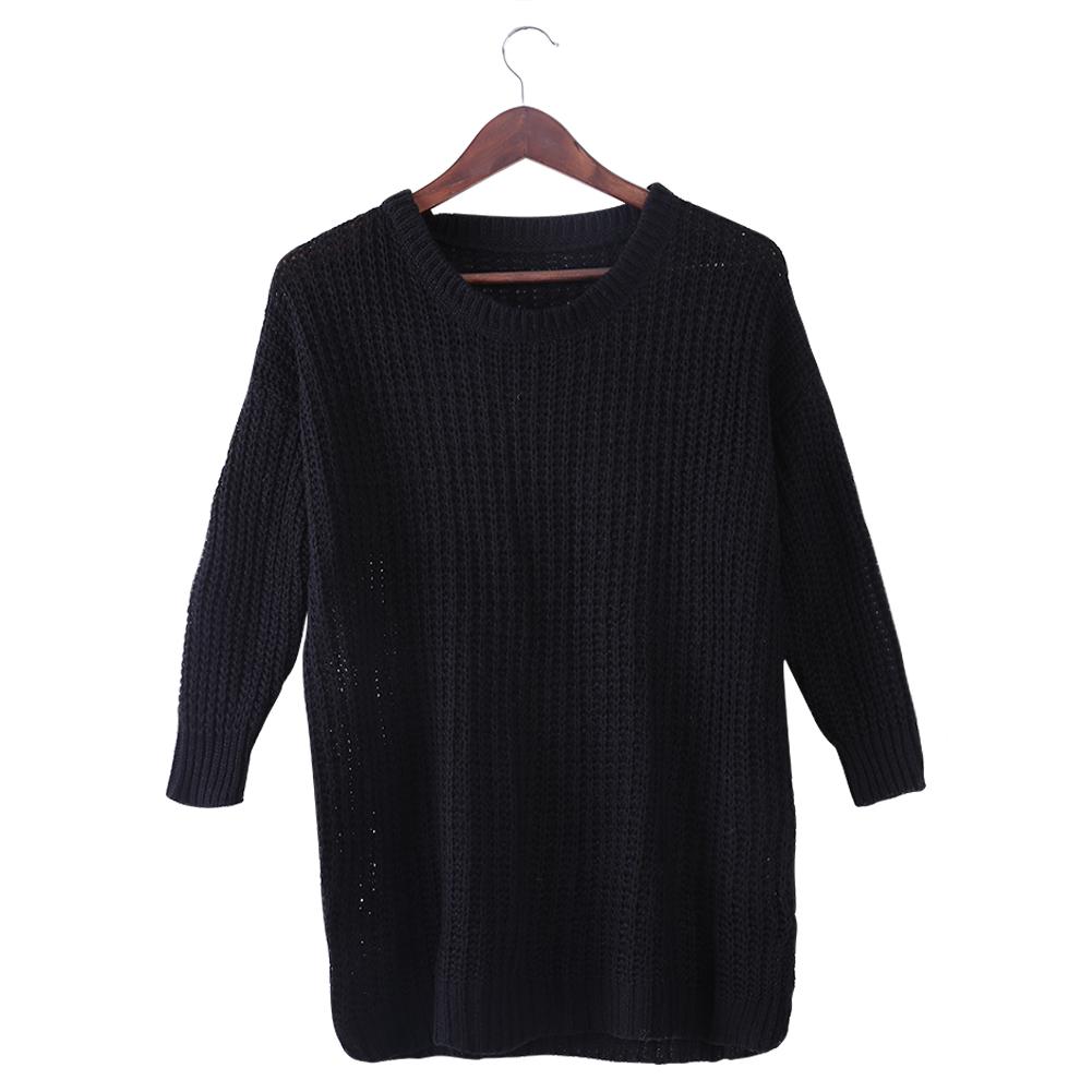 Fashion-Women-Lady-Long-Sleeve-Oversized-Knitted-Sweater-Round-Collar-Knitwear
