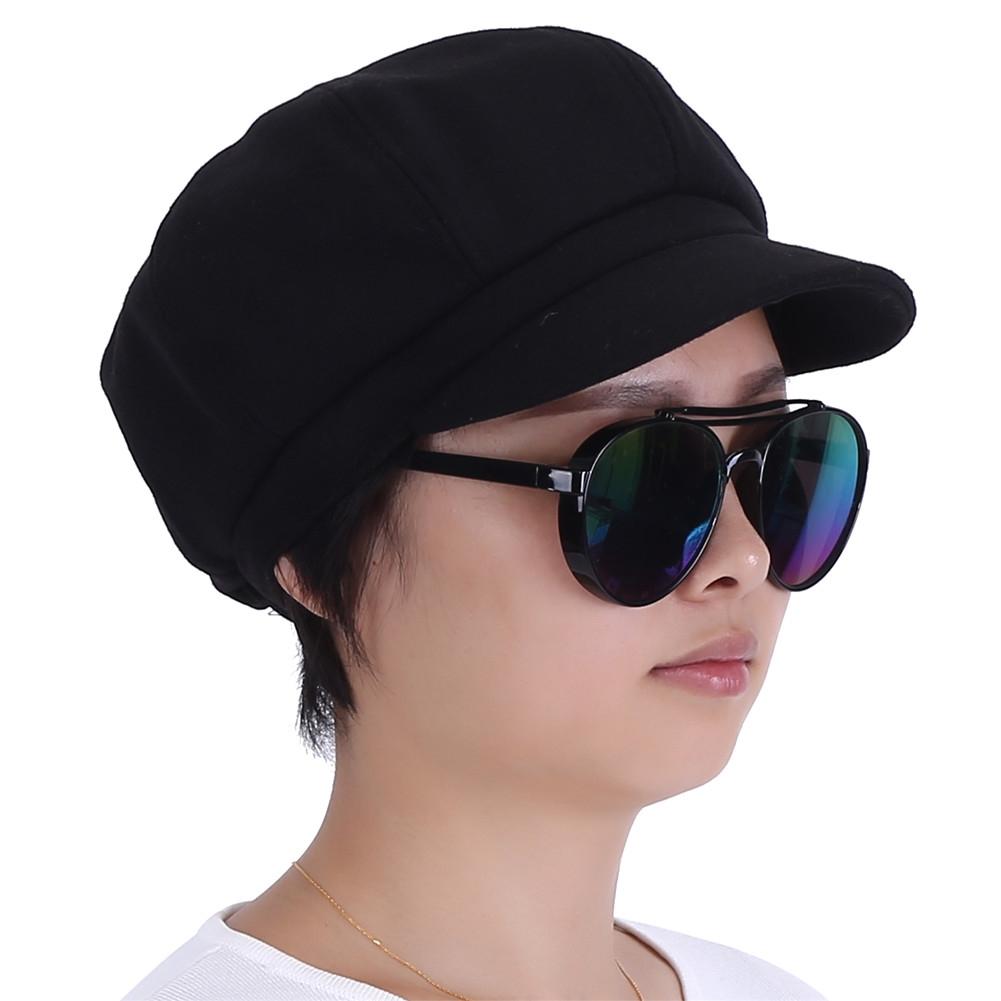 14d1e24543b8e Women Vintage Solid Wool Gatsby Newsboy Octagonal Hat Cabbie Driver ...