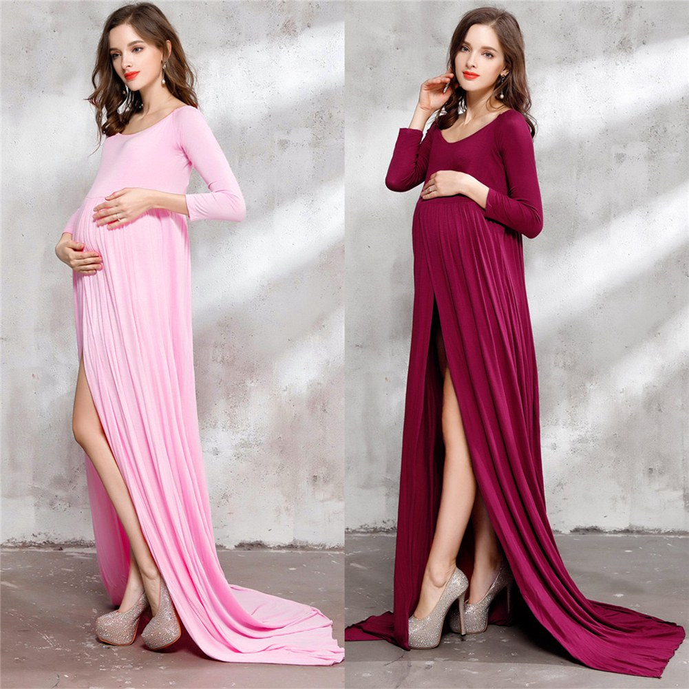 Floor length front split maternity dress clothes for pregnant image is loading floor length front split maternity dress clothes for ombrellifo Image collections