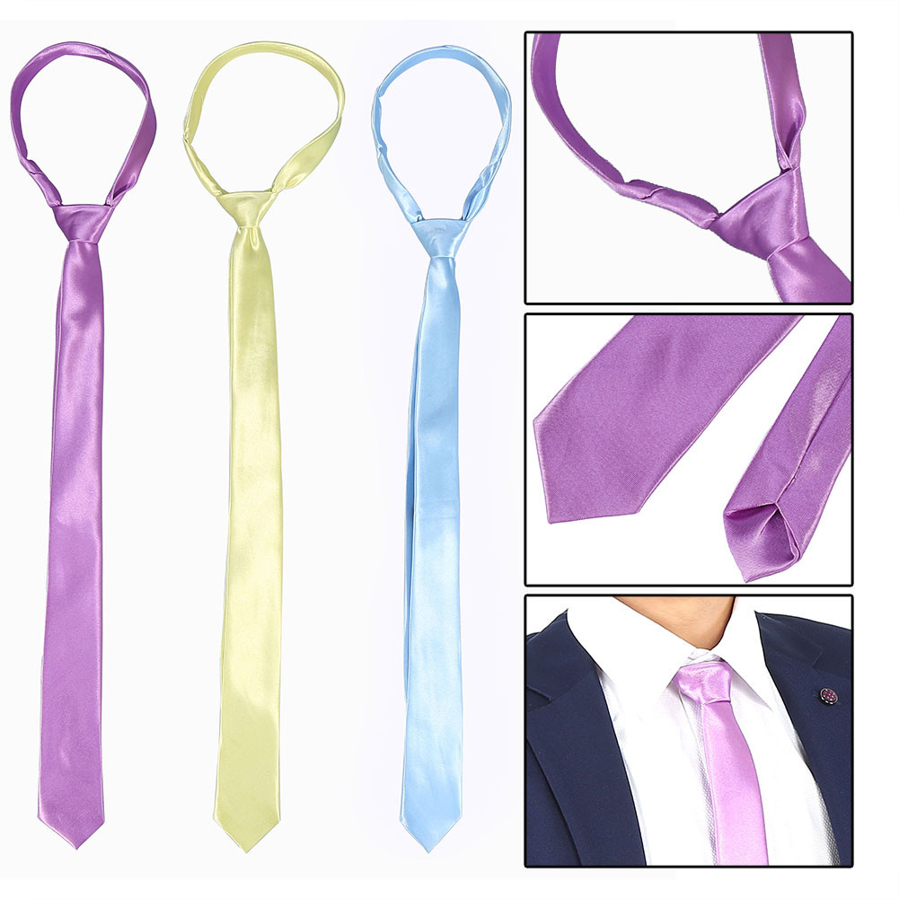 3-Pcs-Classic-Mens-Slim-Skinny-Wedding-Solid-Plain-Satin-Tie-Necktie-color