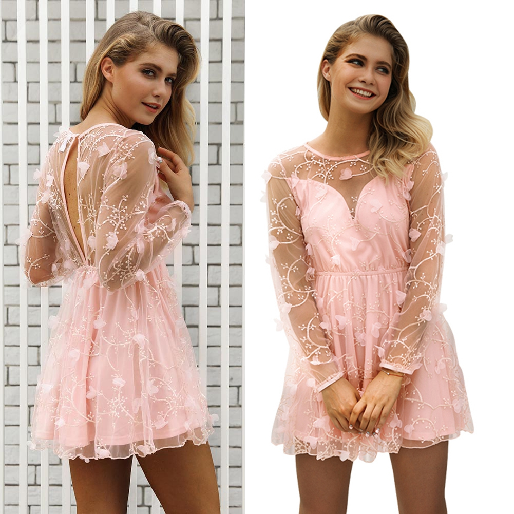 Women-Stylish-Pink-Grenadine-Embroidery-Above-Knee-Dress-For-Bridesmaid-Wedding