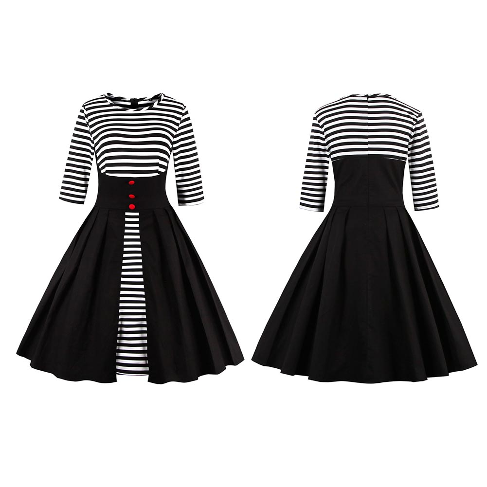 Elegant Women Round Collar Half Sleeve Clothes Stripe Pattern Ball ...