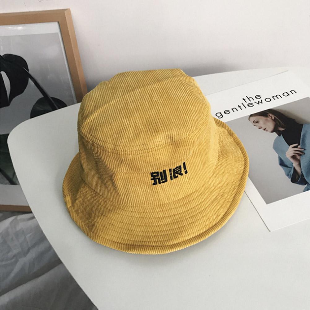 Details about Fashion Unisex Men Women Vintage Corduroy Cap Fisherman  Bucket Hat Writing Words