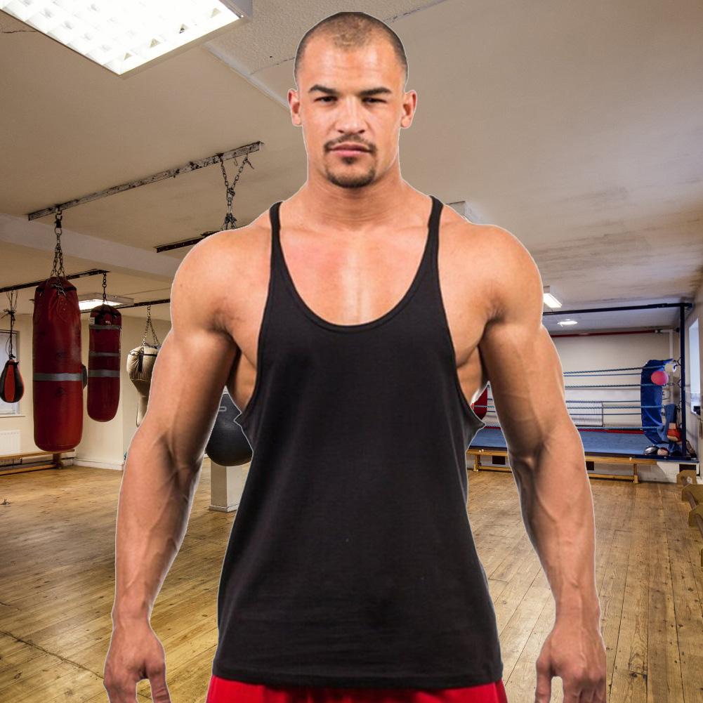 658eceee9f Simple Men Solid Color Cotton O-Neck Gym Sport Vest Loose Tank Top ...