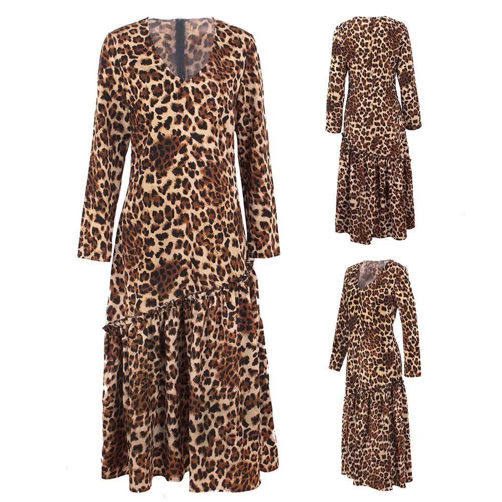 Women-Leopard-Print-V-Neck-Maxi-Dress-Long-Sleeve-Cocktail-Evening-Party-Dress thumbnail 13