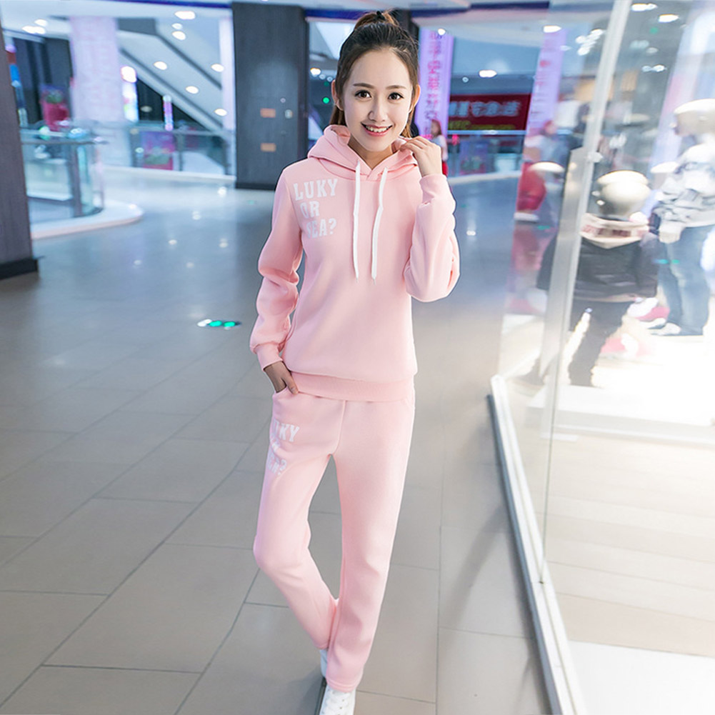 Casual-Style-Women-Soft-Drawstring-Hoodie-amp-Pants-Sports-Thicken-Two-piece-Suit thumbnail 14