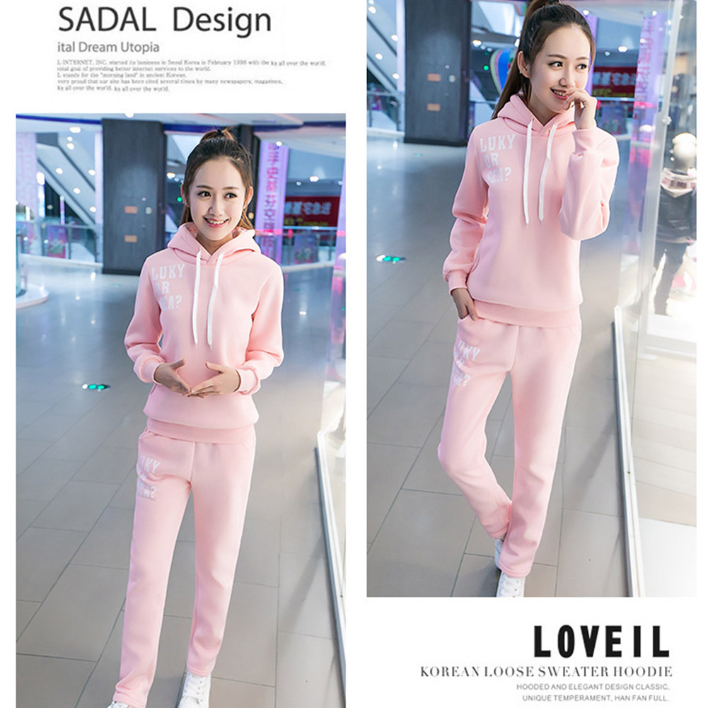 Casual-Style-Women-Soft-Drawstring-Hoodie-amp-Pants-Sports-Thicken-Two-piece-Suit thumbnail 15