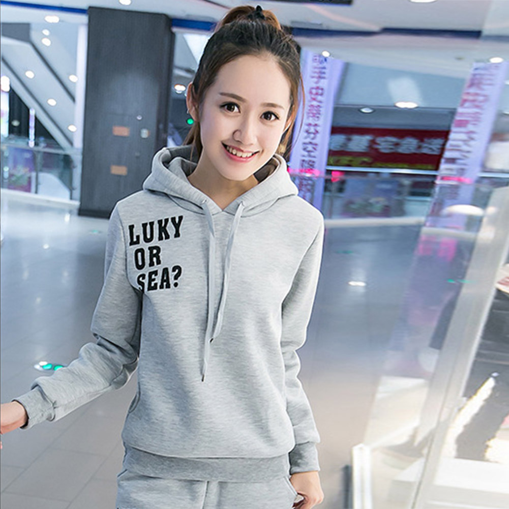 Casual-Style-Women-Soft-Drawstring-Hoodie-amp-Pants-Sports-Thicken-Two-piece-Suit thumbnail 18