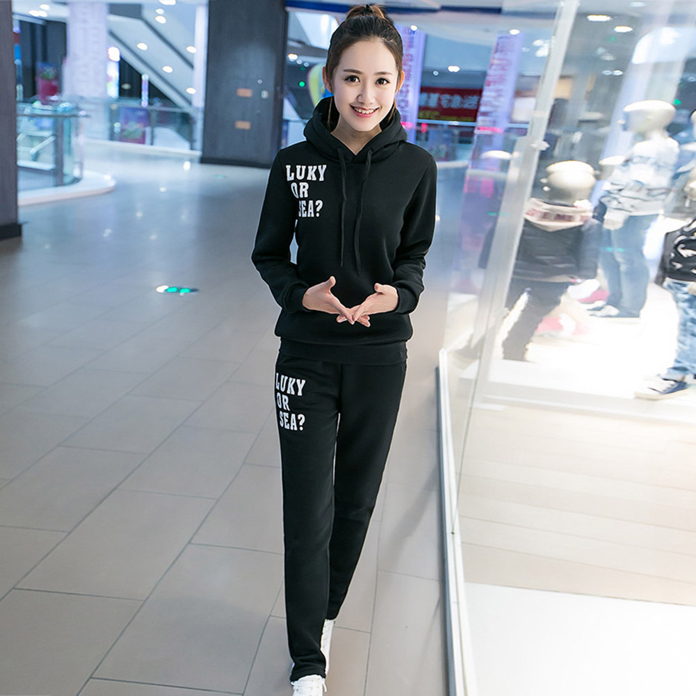 Casual-Style-Women-Soft-Drawstring-Hoodie-amp-Pants-Sports-Thicken-Two-piece-Suit thumbnail 20