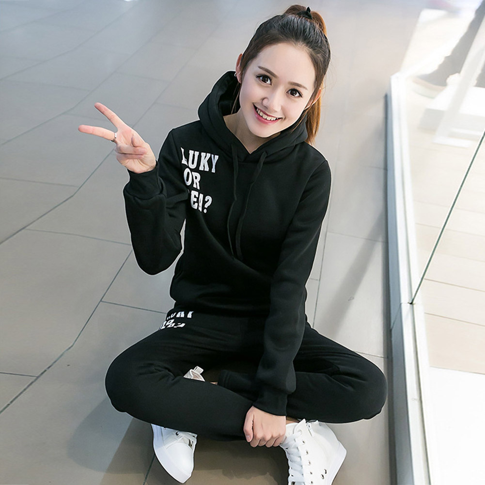 Casual-Style-Women-Soft-Drawstring-Hoodie-amp-Pants-Sports-Thicken-Two-piece-Suit thumbnail 21