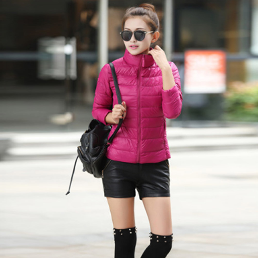 c22731fa54d Women Lightweight Short Down Jacket Coat Stand Collar Padded Jackets ...