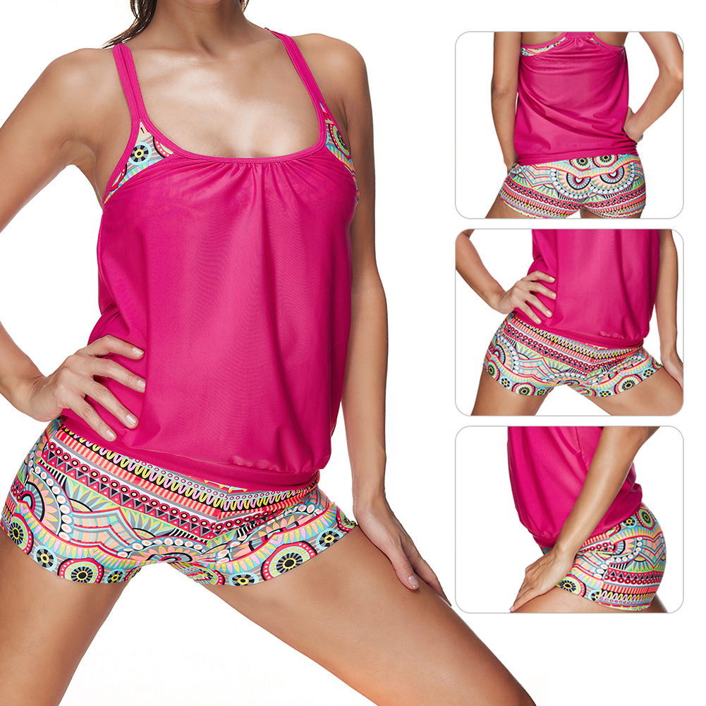 Summer-Women-Sports-Bikini-Tankini-Boyshort-Swimsuit-Short-Swimwear-Wireless-Set thumbnail 20