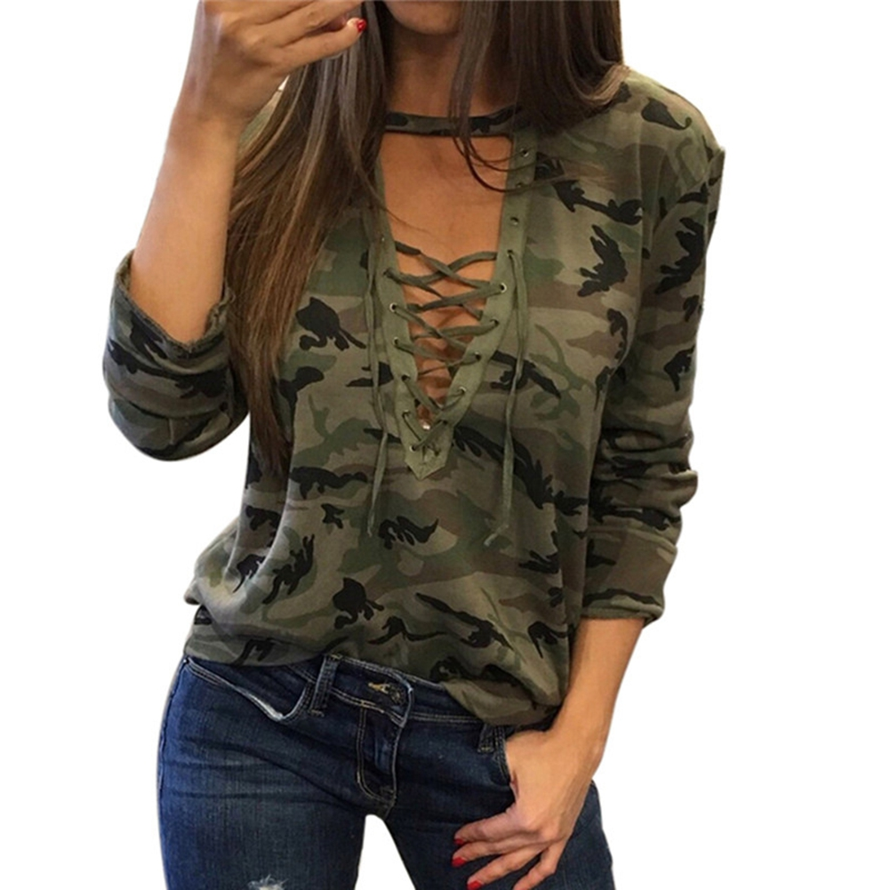 Fashion-Women-Camouflage-Pattern-Bandage-V-neck-Top-Short-Sleeve-T-shirt-Summer thumbnail 13