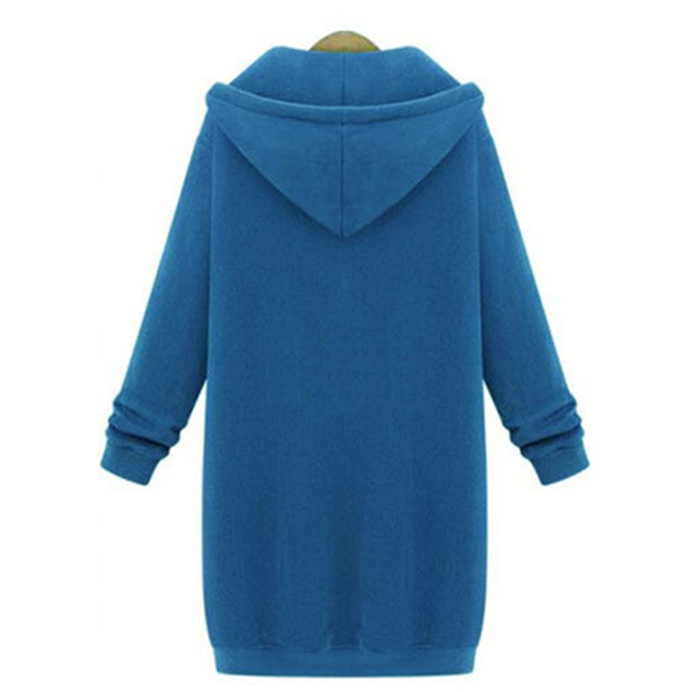 Women-039-s-Long-Sleeve-Hooded-Coat-Jacket-Zipper-Drawstring-Sweatshirt-Knee-Length thumbnail 14