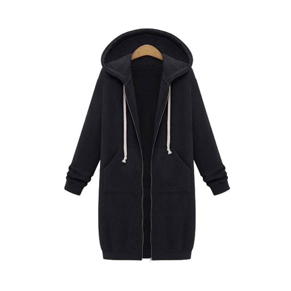 Women-039-s-Long-Sleeve-Hooded-Coat-Jacket-Zipper-Drawstring-Sweatshirt-Knee-Length thumbnail 17