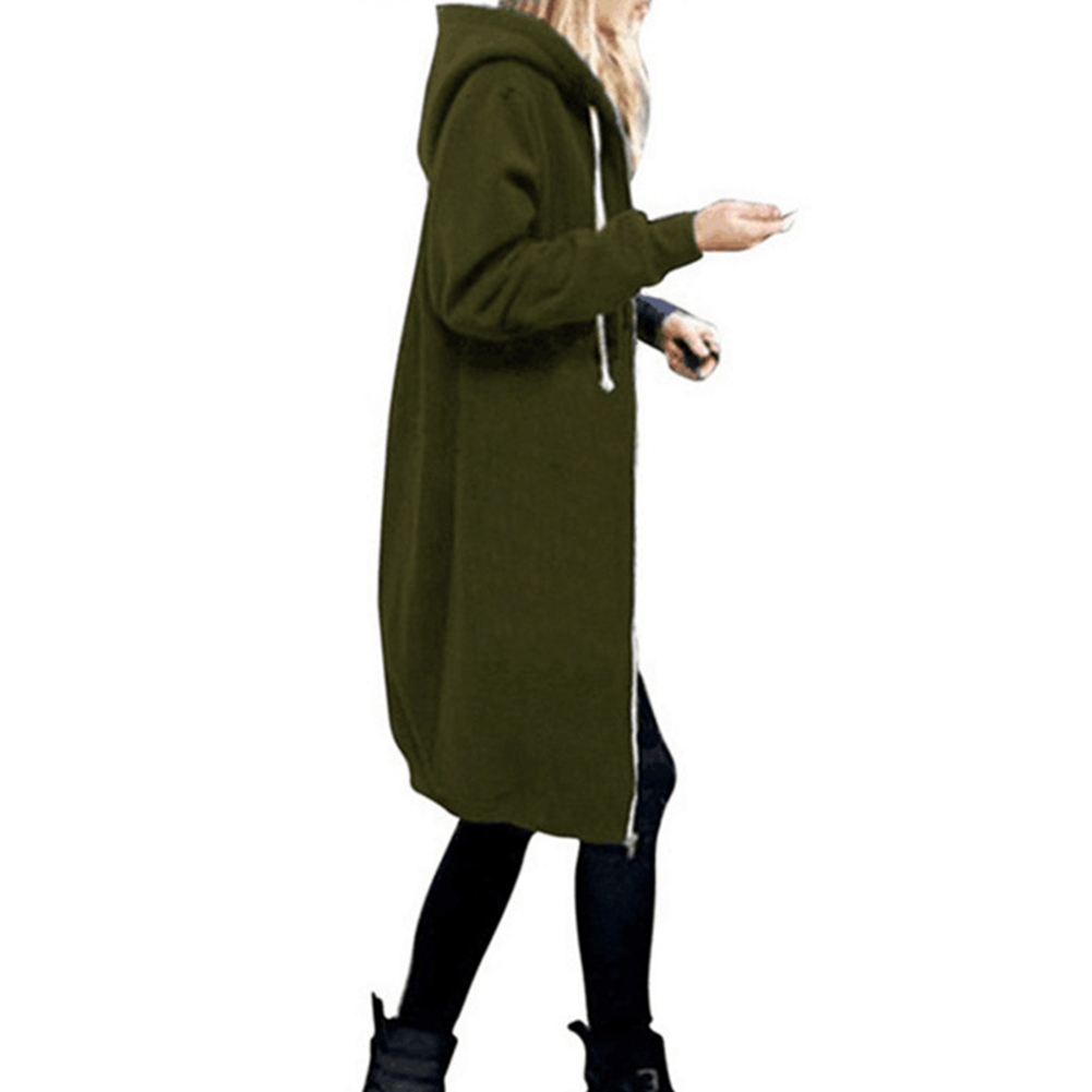 Women-039-s-Long-Sleeve-Hooded-Coat-Jacket-Zipper-Drawstring-Sweatshirt-Knee-Length thumbnail 20