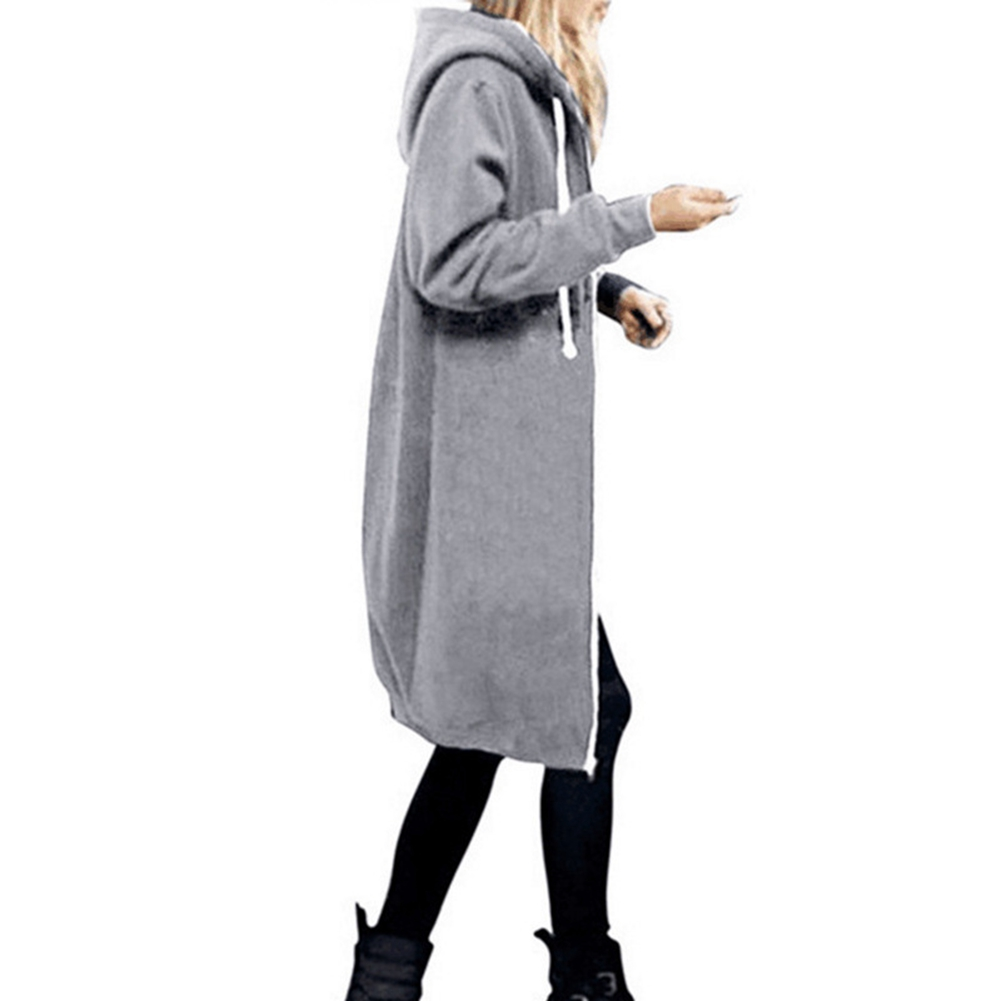 Women-039-s-Long-Sleeve-Hooded-Coat-Jacket-Zipper-Drawstring-Sweatshirt-Knee-Length thumbnail 23