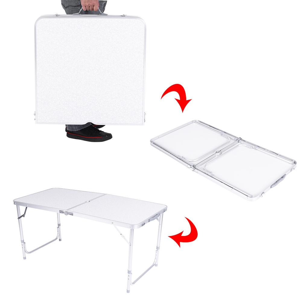 4Ft Camping Catering Heavy Duty Folding Table Trestle Picnic Bbq Party White New 4