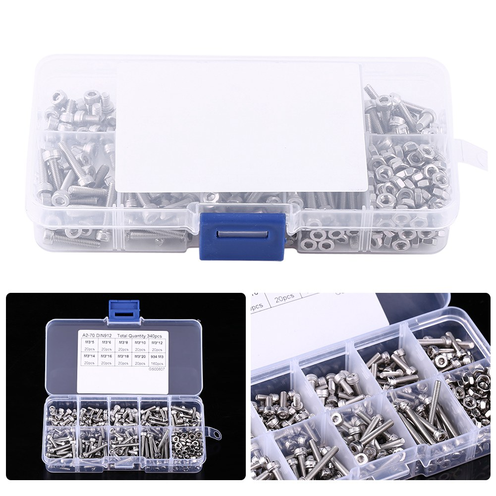 320 Assorted M3 A2 Stainless Steel Socket Cap Allen Screws Nuts /& Washers
