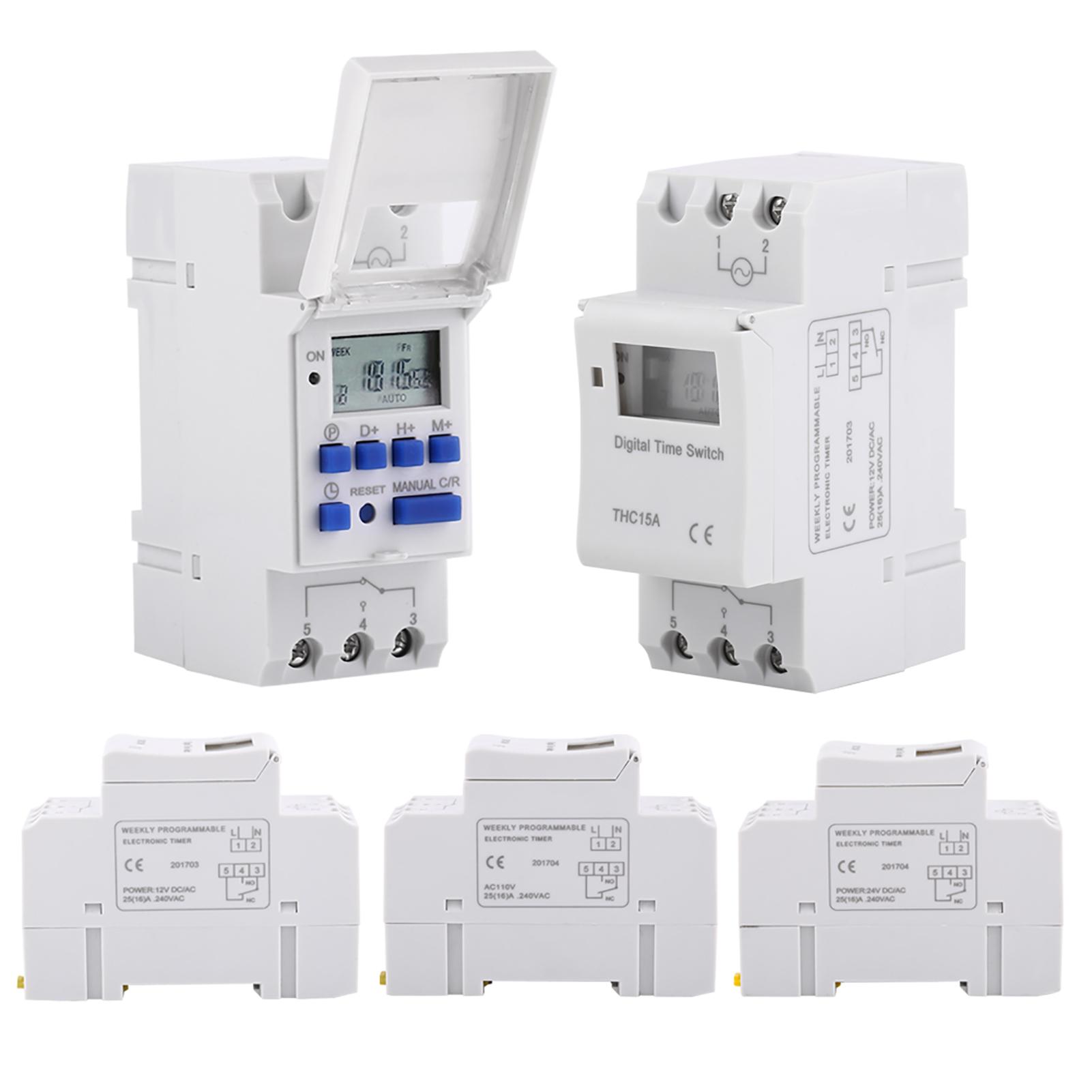 Thc15a Din Rail Mounting Digital Programmable Timer Switch 12v 24v Circuit Breaker Ebay Image
