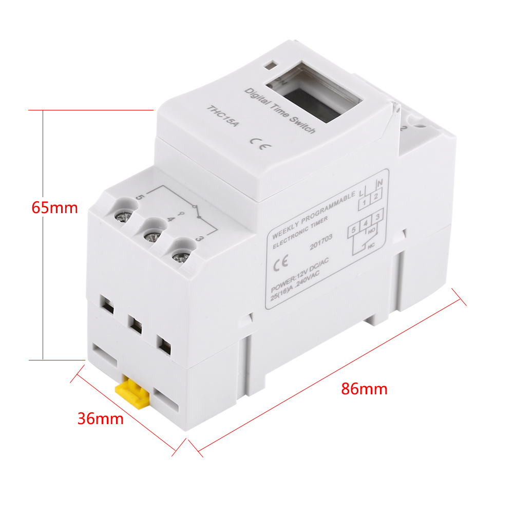 Thc15a Din Rail Mounting Digital Programmable Timer Switch 12v 24v Circuit Breaker With Image