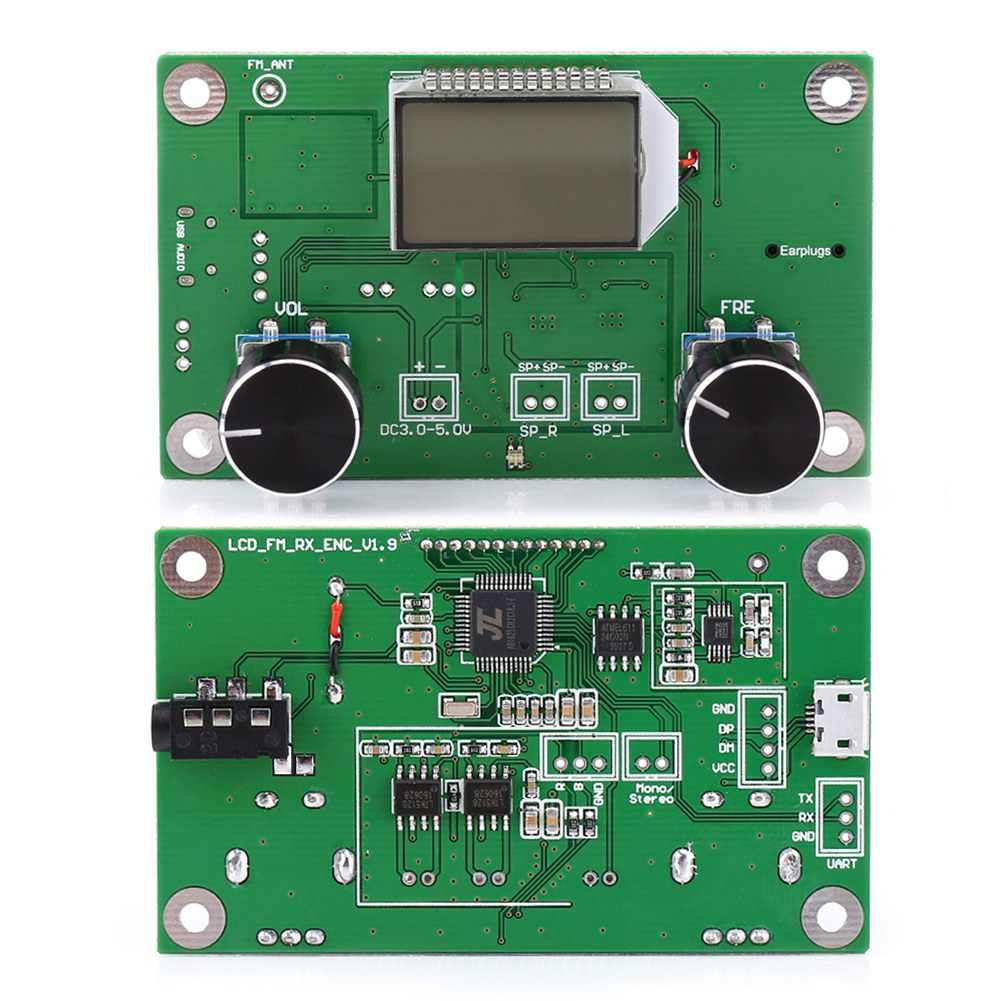 Lcd Dsp Pll Digital Stereo Fm Radio Receiver Module 87 108mhz Serial 8w Transmitter With Image