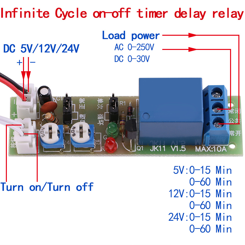 Dc 5v 12v 24v Infinite Cycle Delay Timing Timer Relay On Off Switch Ebay Image Is Loading