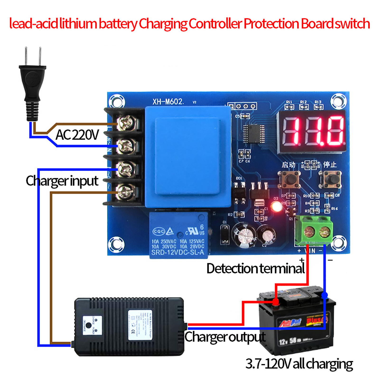 The Circuit Can Be Used To Charge 12v Lead Acid Batteries Battery Charger Controller 220v Protection Switch 24v Image Is Loading