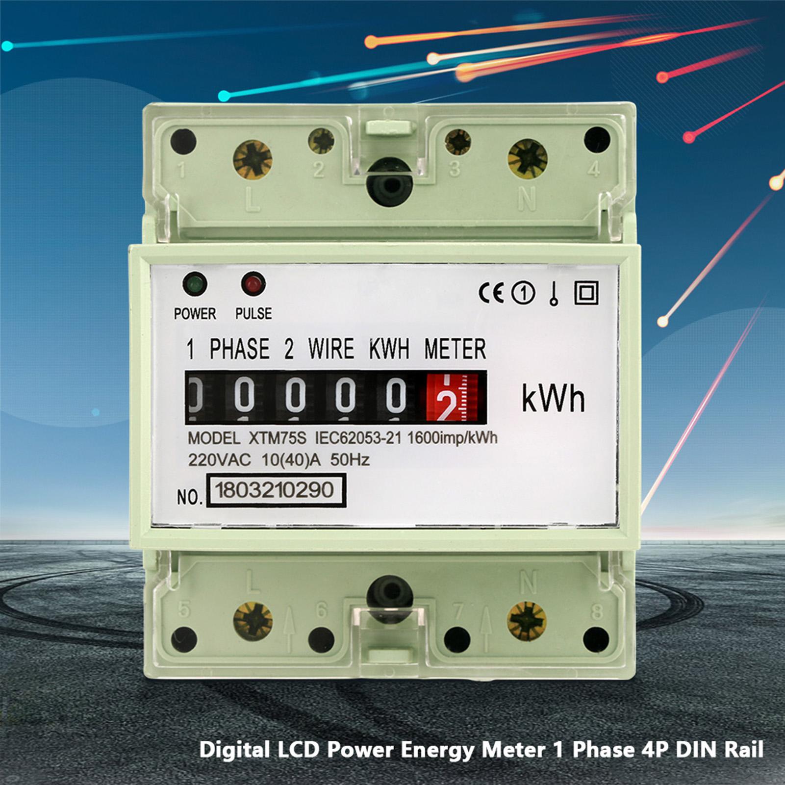 220V 10(40)A Stromzähler Drehstromzähler DIN-Schiene LED Einphase 2 ...