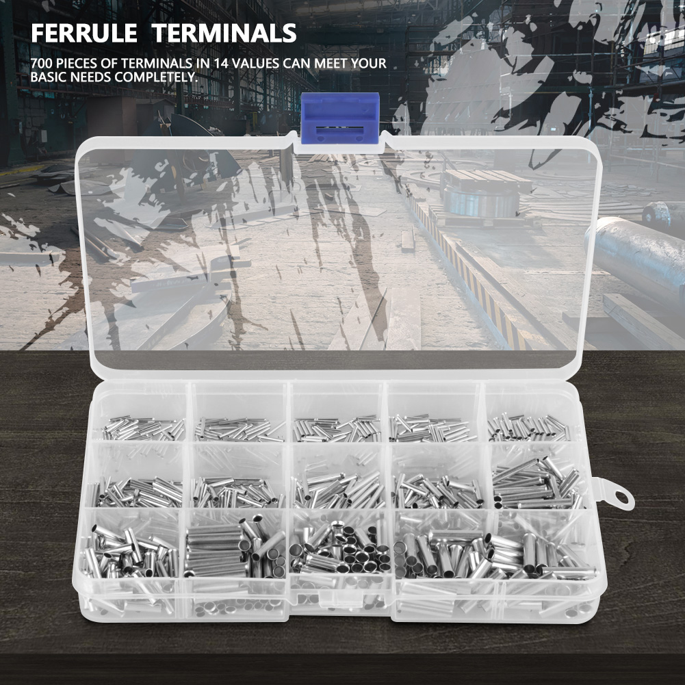 700Pcs 14 Values 10-22AWG Non-insulated Ferrule Terminals Kit for ...