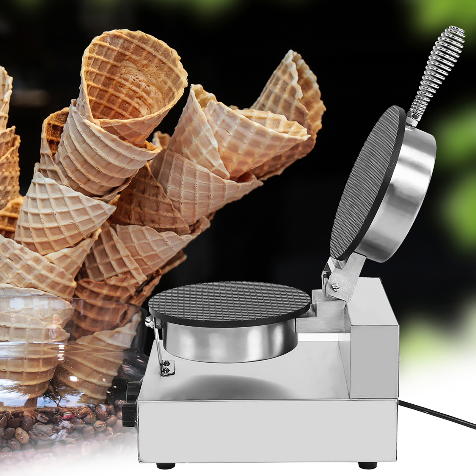 Kitchen-Electric-Stainless-Steel-Ice-Cream-Egg-Waffle-Cone-Maker-Cooking-Machine thumbnail 14